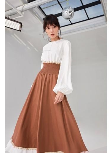 Vivencia Poplin Bedenli Visolin Kadın Elbise Tarçın Kahve